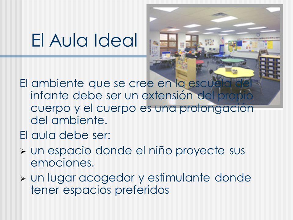 El Aula Ideal El ambiente que se cree en la escuela del infante debe ser un extensión del propio cuerpo y el cuerpo es una prolongación del ambiente.
