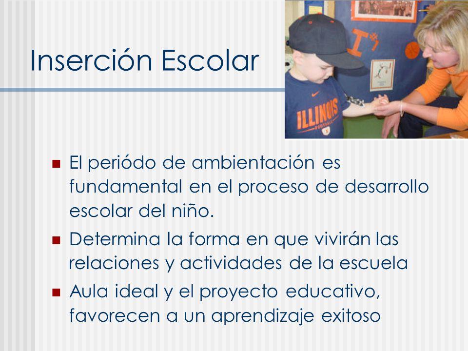 Inserción Escolar El periódo de ambientación es fundamental en el proceso de desarrollo escolar del niño.