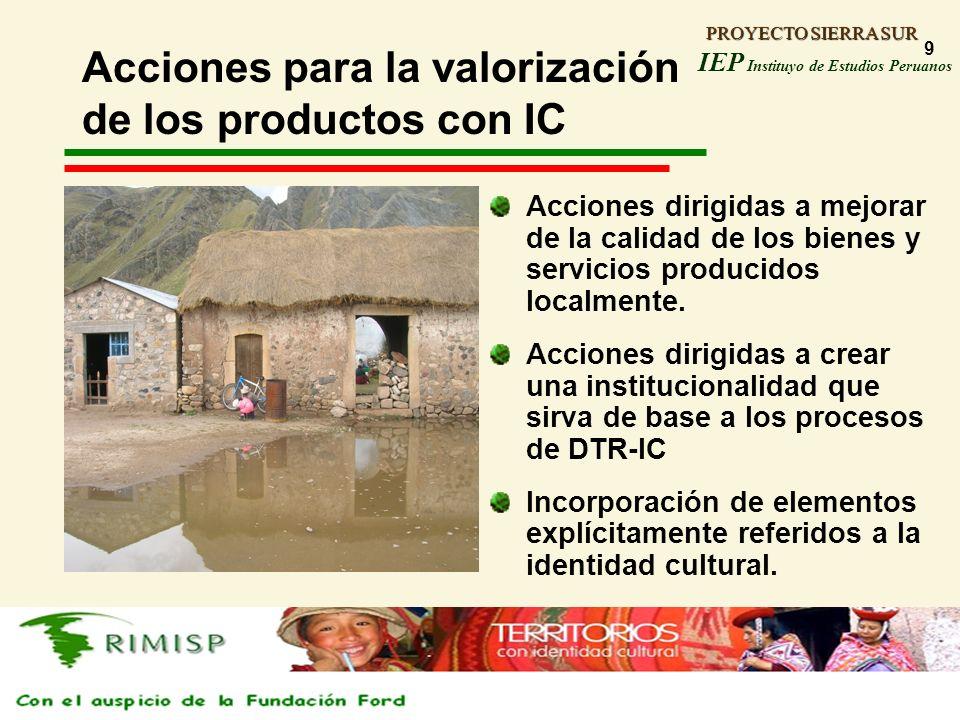 Acciones para la valorización de los productos con IC