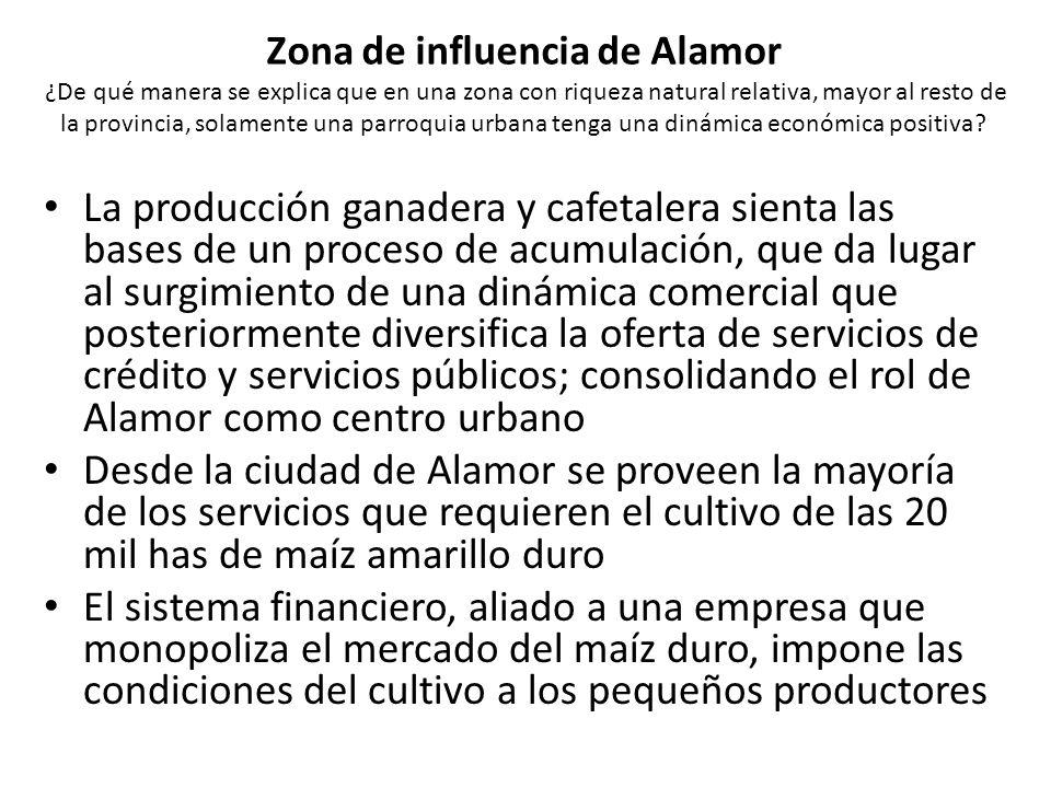 Zona de influencia de Alamor ¿De qué manera se explica que en una zona con riqueza natural relativa, mayor al resto de la provincia, solamente una parroquia urbana tenga una dinámica económica positiva