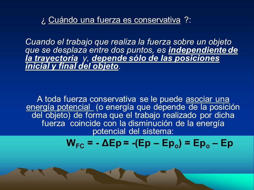 WFC = - ΔEp = -(Ep – Epo) = Epo – Ep