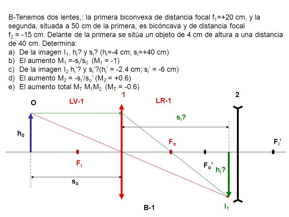 B-Tenemos dos lentes,: la primera biconvexa de distancia focal f1=+20 cm, y la