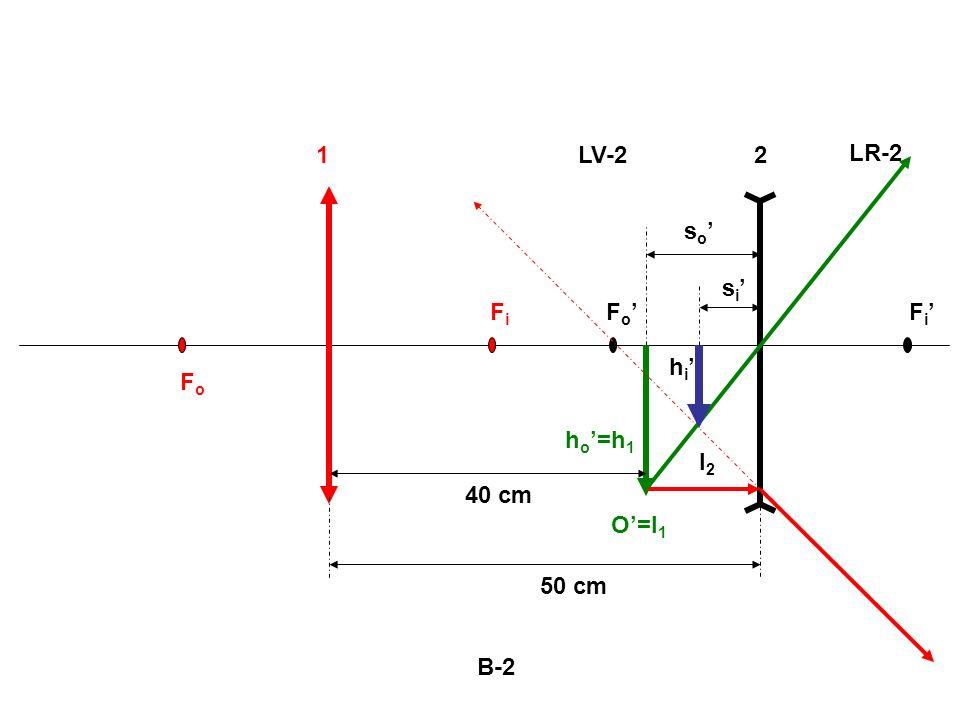1 LV-2 2 LR-2 so' si' Fi Fo' Fi' hi' Fo ho'=h1 I2 40 cm O'=I1 50 cm B-2