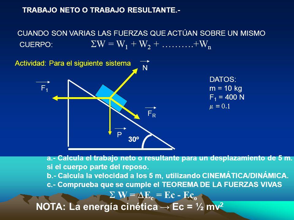 NOTA: La energía cinética → Ec = ½ mv2