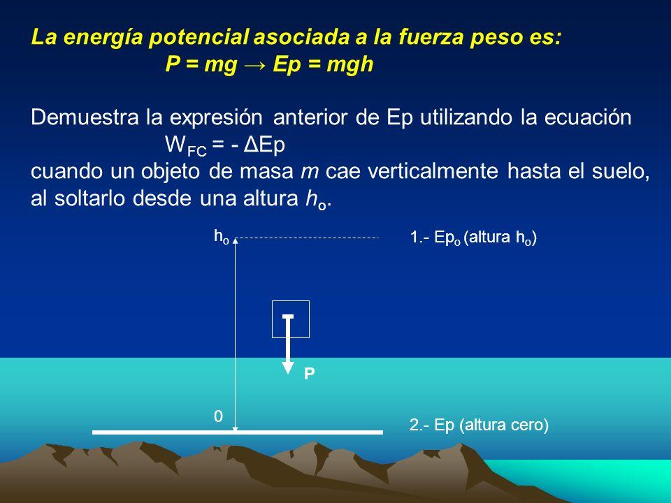 La energía potencial asociada a la fuerza peso es: P = mg → Ep = mgh