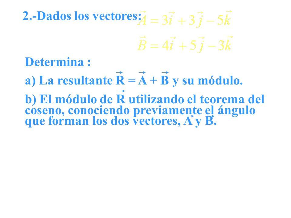 2.-Dados los vectores: Determina : a) La resultante R = A + B y su módulo.