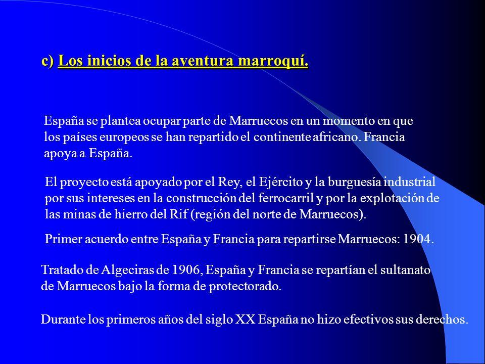 c) Los inicios de la aventura marroquí.
