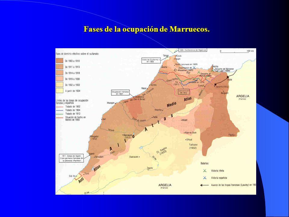 Fases de la ocupación de Marruecos.