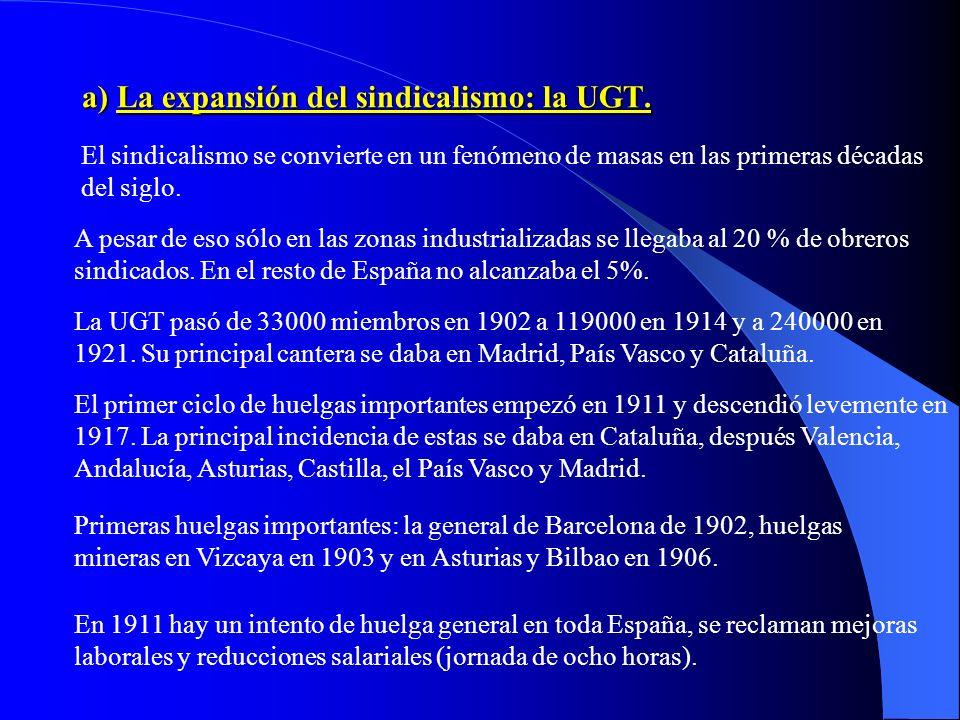 a) La expansión del sindicalismo: la UGT.