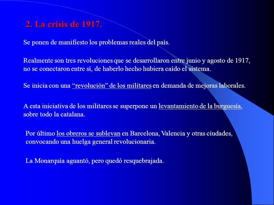 2. La crisis de 1917. Se ponen de manifiesto los problemas reales del país.