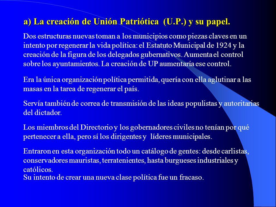 a) La creación de Unión Patriótica (U.P.) y su papel.