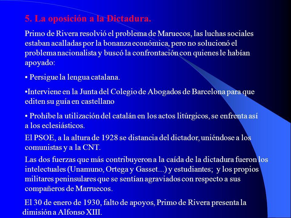 5. La oposición a la Dictadura.