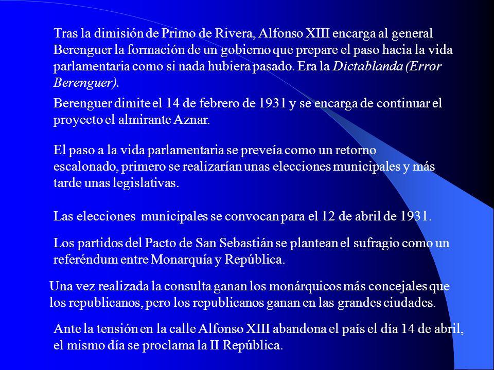 Tras la dimisión de Primo de Rivera, Alfonso XIII encarga al general Berenguer la formación de un gobierno que prepare el paso hacia la vida parlamentaria como si nada hubiera pasado. Era la Dictablanda (Error Berenguer).