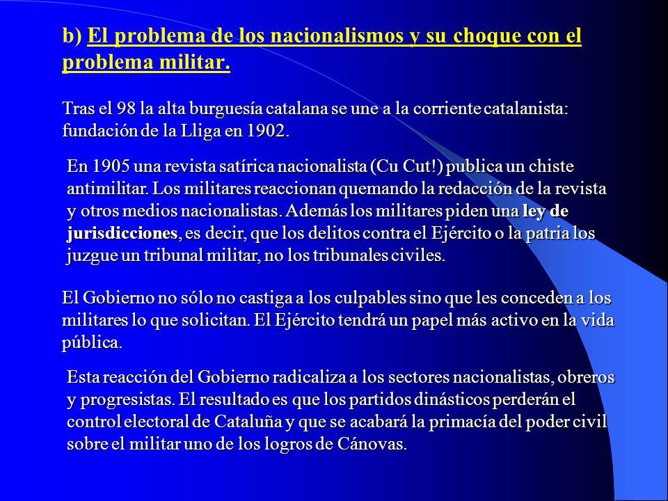 b) El problema de los nacionalismos y su choque con el problema militar.