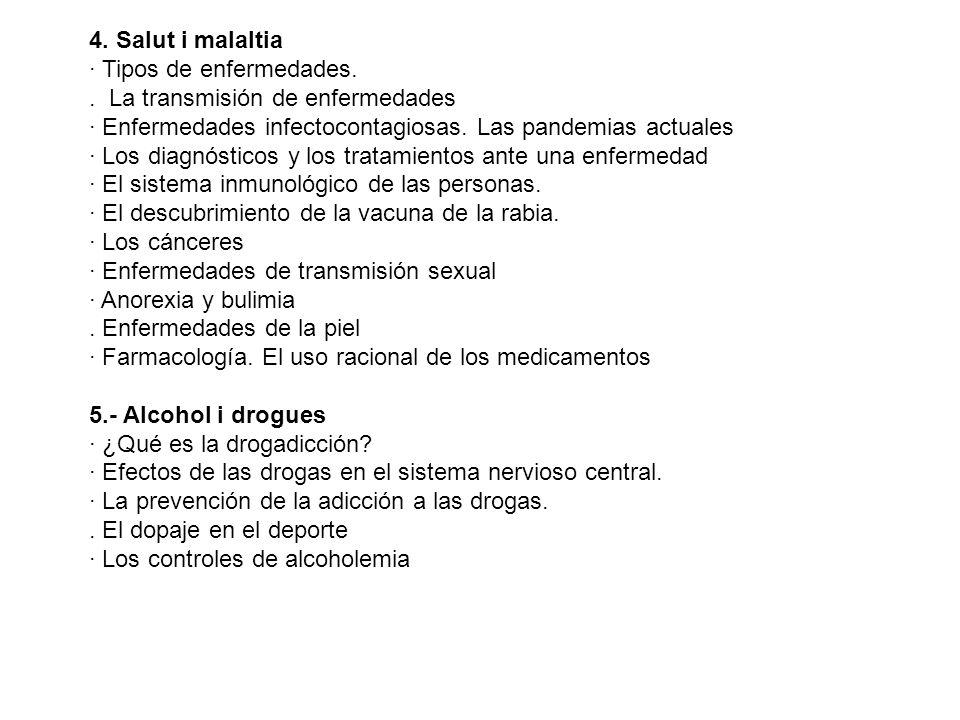 4. Salut i malaltia· Tipos de enfermedades. . La transmisión de enfermedades. · Enfermedades infectocontagiosas. Las pandemias actuales.