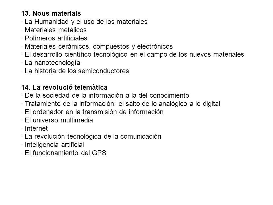 13. Nous materials· La Humanidad y el uso de los materiales. · Materiales metálicos. · Polímeros artificiales.