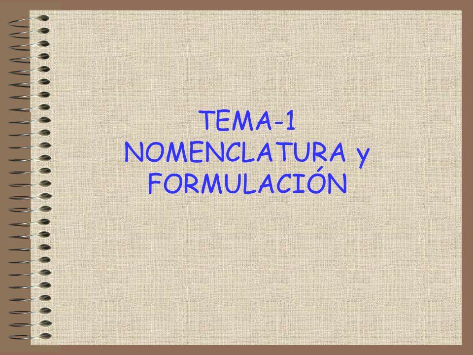 TEMA-1 NOMENCLATURA y FORMULACIÓN