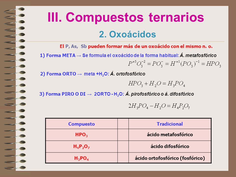 III. Compuestos ternarios 2. Oxoácidos