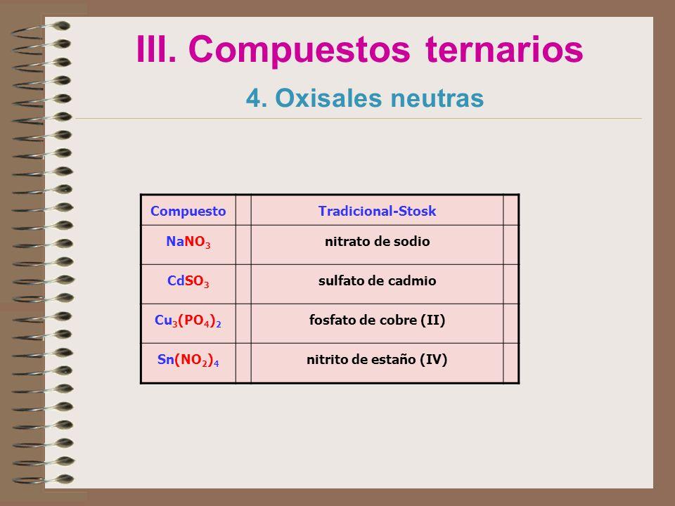 III. Compuestos ternarios 4. Oxisales neutras
