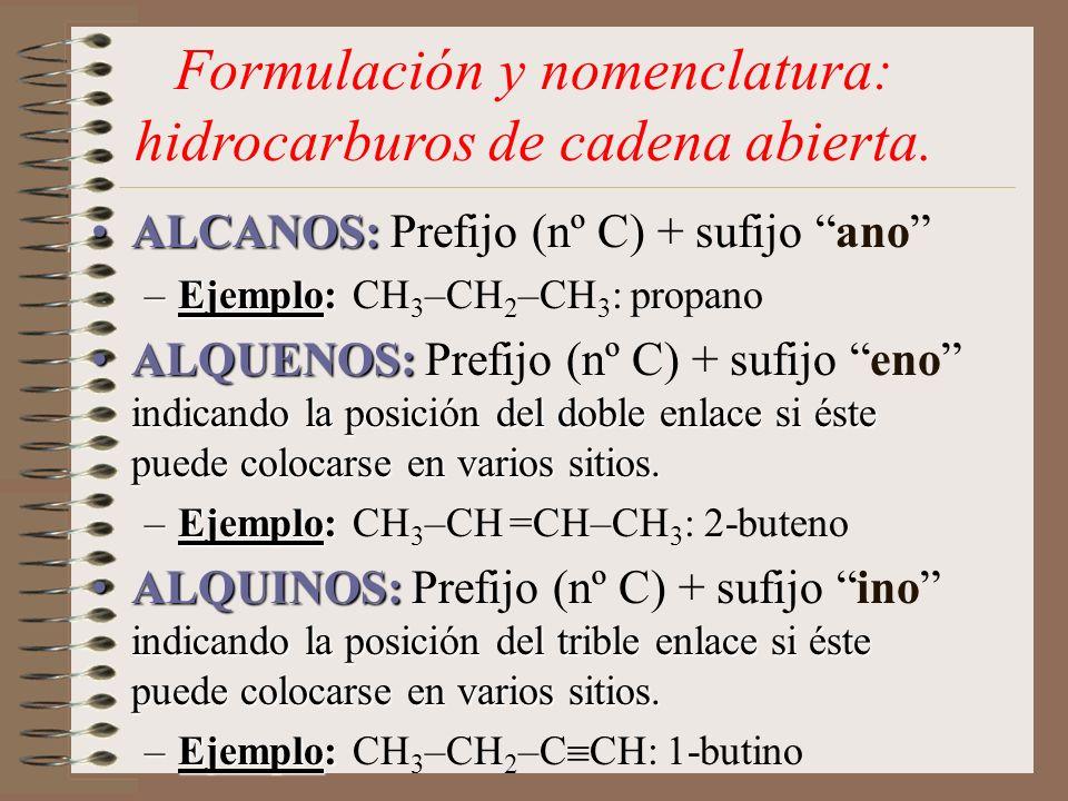 Formulación y nomenclatura: hidrocarburos de cadena abierta.