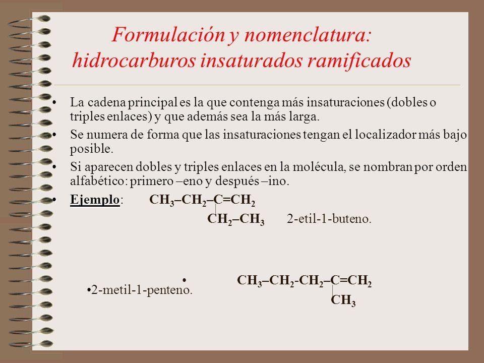 Formulación y nomenclatura: hidrocarburos insaturados ramificados