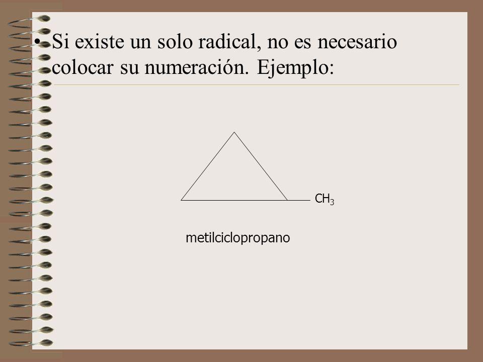 Si existe un solo radical, no es necesario colocar su numeración