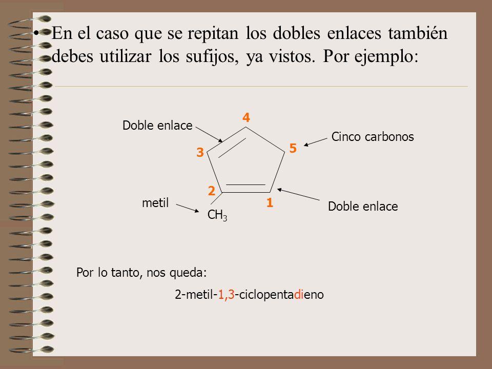 En el caso que se repitan los dobles enlaces también debes utilizar los sufijos, ya vistos. Por ejemplo: