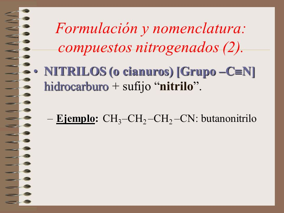 Formulación y nomenclatura: compuestos nitrogenados (2).