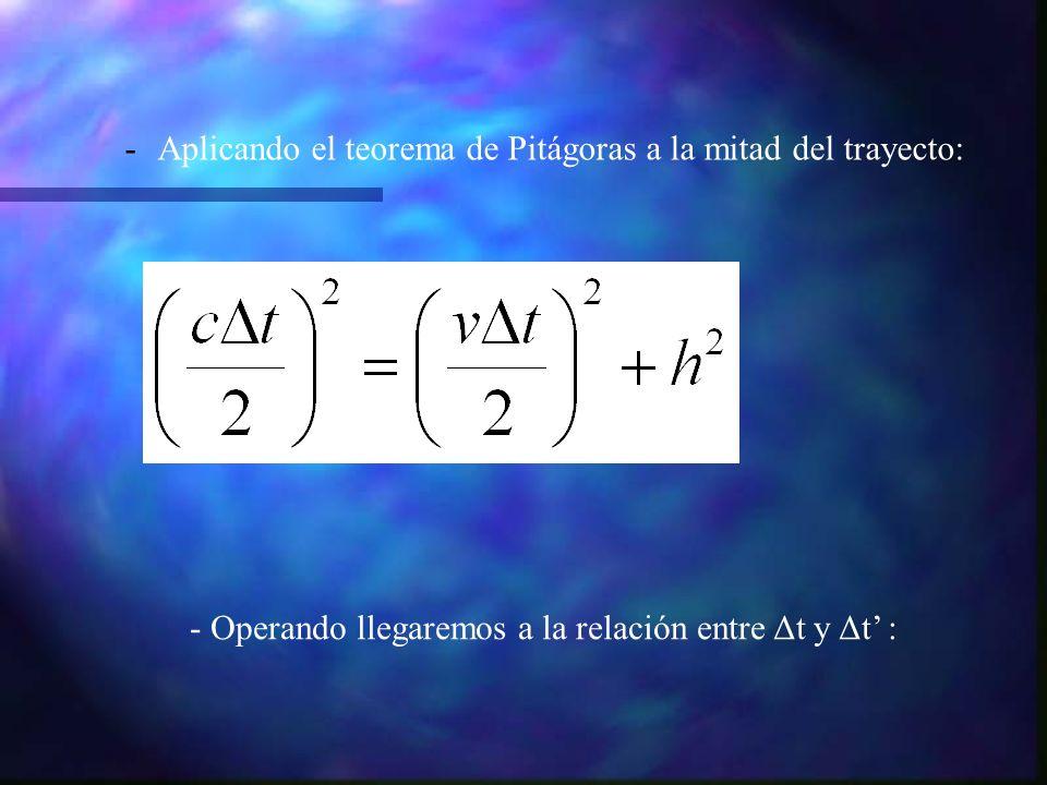 Aplicando el teorema de Pitágoras a la mitad del trayecto: