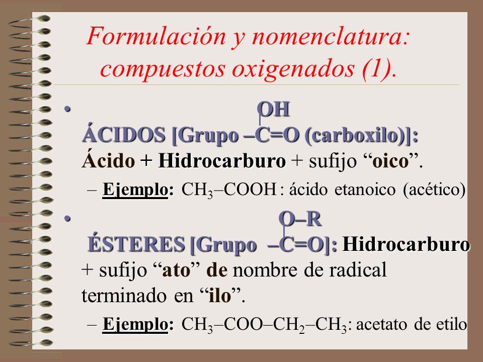 Formulación y nomenclatura: compuestos oxigenados (1).