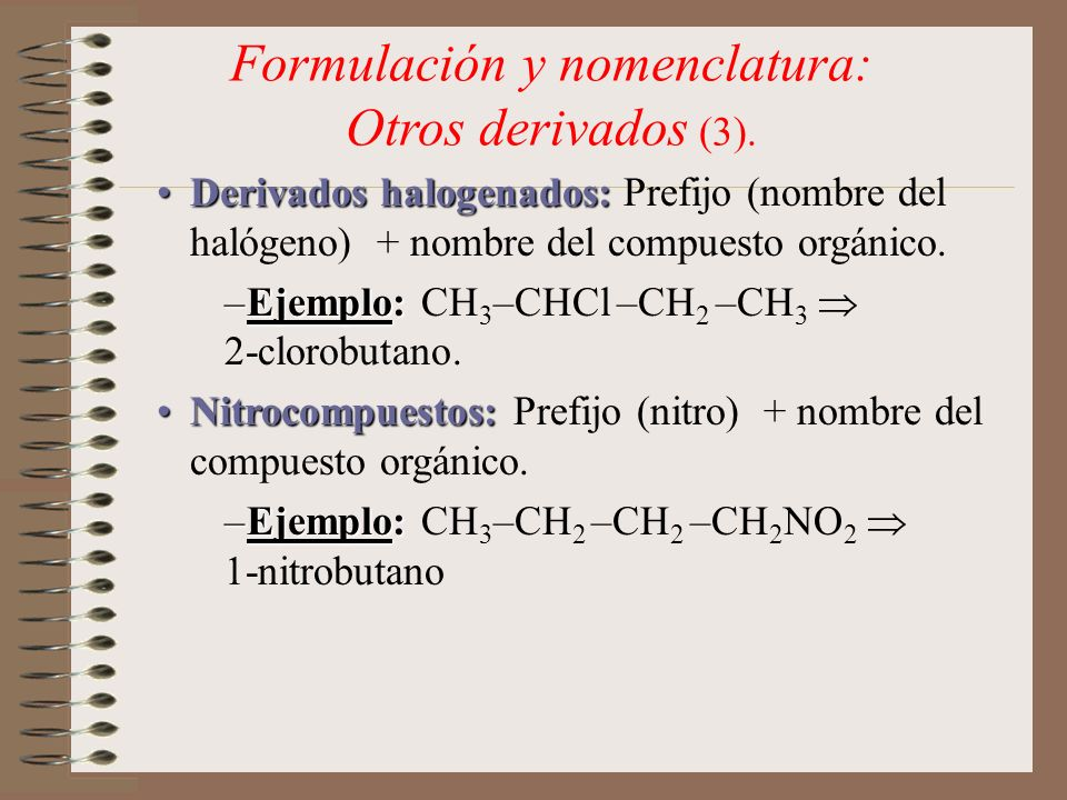 Formulación y nomenclatura: Otros derivados (3).