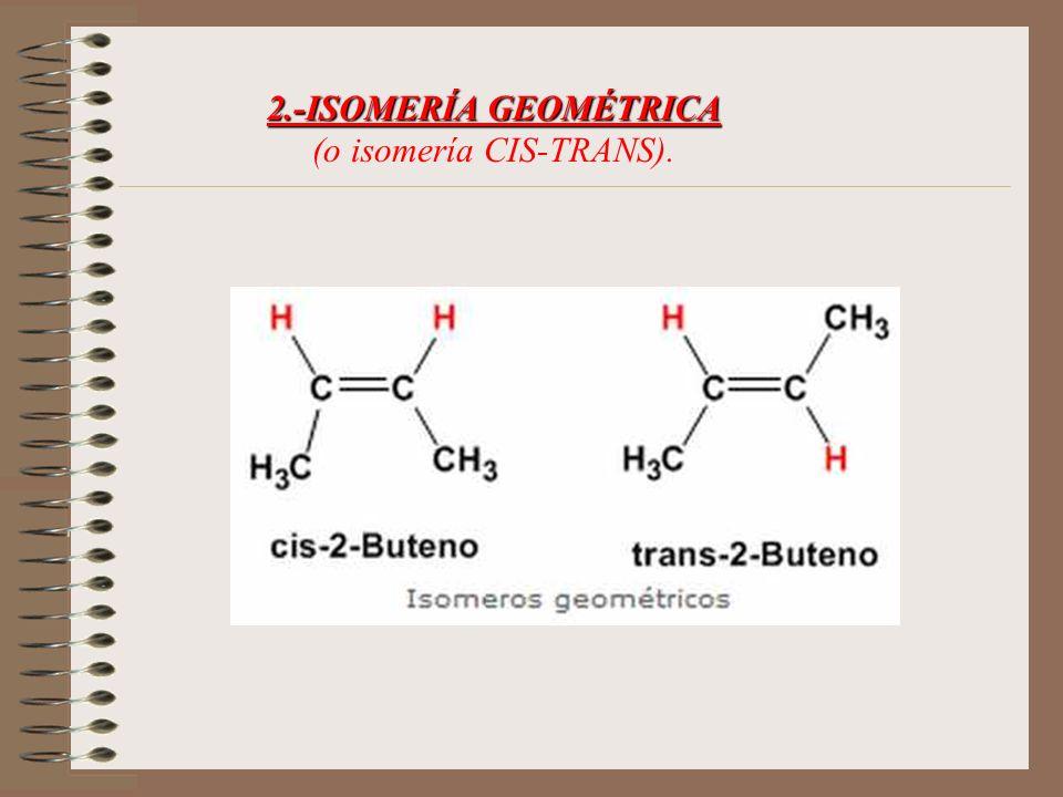 2.-ISOMERÍA GEOMÉTRICA (o isomería CIS-TRANS).