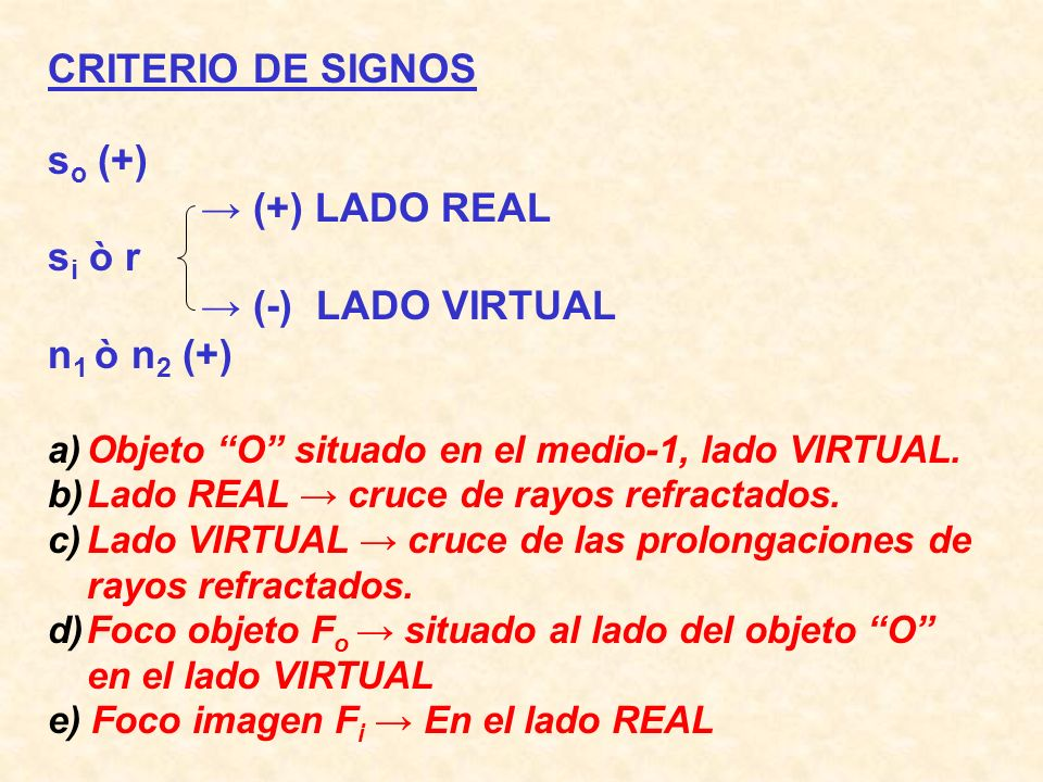 CRITERIO DE SIGNOS so (+) → (+) LADO REAL si ò r → (-) LADO VIRTUAL