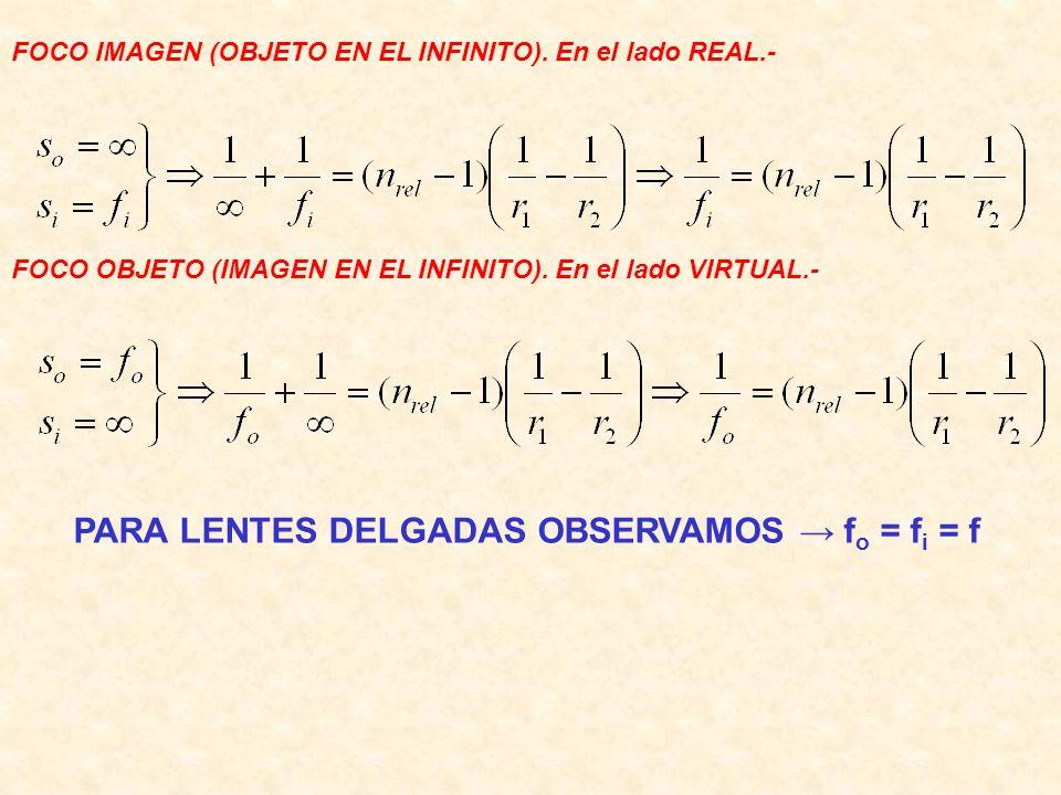 PARA LENTES DELGADAS OBSERVAMOS → fo = fi = f