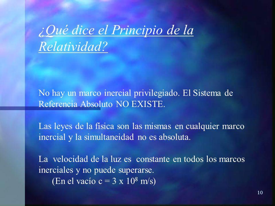 ¿Qué dice el Principio de la Relatividad