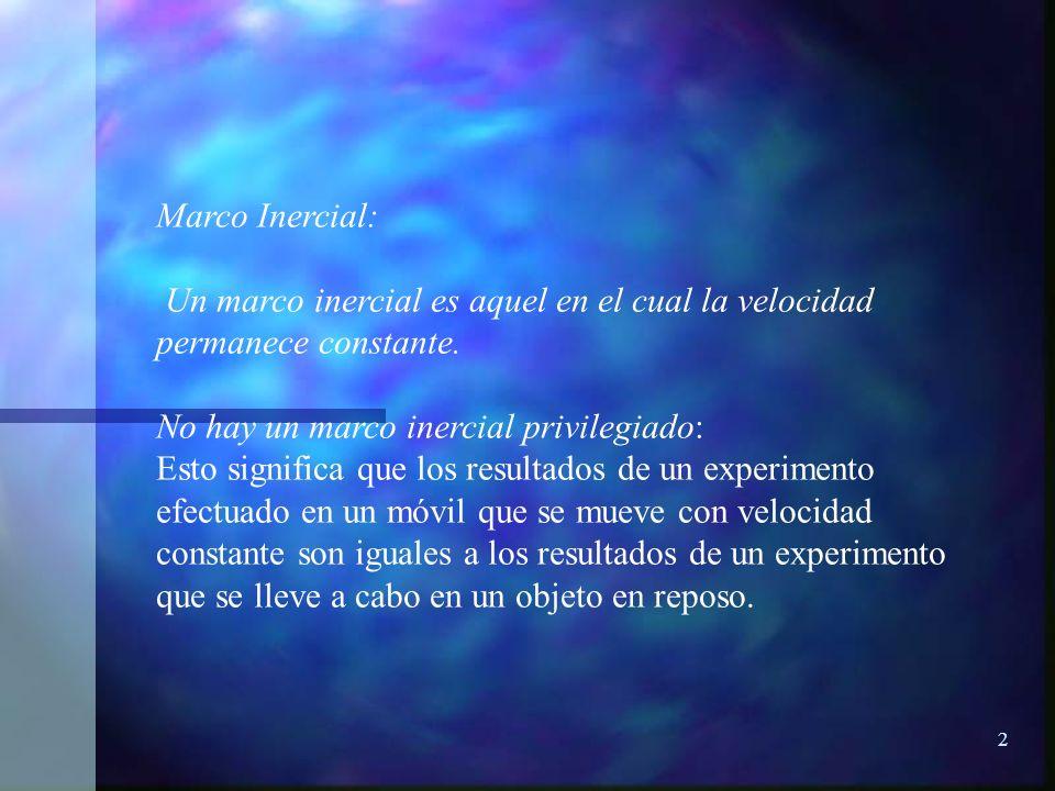 Marco Inercial: Un marco inercial es aquel en el cual la velocidad permanece constante. No hay un marco inercial privilegiado: