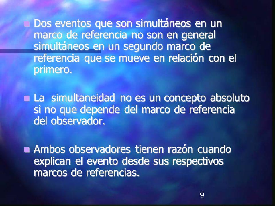 Dos eventos que son simultáneos en un marco de referencia no son en general simultáneos en un segundo marco de referencia que se mueve en relación con el primero.
