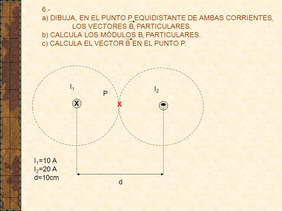 6.- a) DIBUJA, EN EL PUNTO P EQUIDISTANTE DE AMBAS CORRIENTES, LOS VECTORES Bi PARTICULARES. b) CALCULA LOS MÓDULOS Bi PARTICULARES.