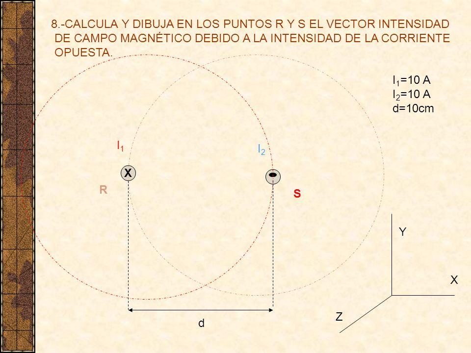 8.-CALCULA Y DIBUJA EN LOS PUNTOS R Y S EL VECTOR INTENSIDAD