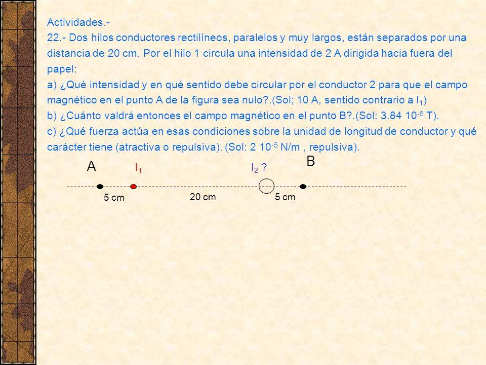 Actividades.- 22.- Dos hilos conductores rectilíneos, paralelos y muy largos, están separados por una.