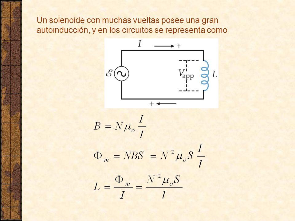 Un solenoide con muchas vueltas posee una gran autoinducción, y en los circuitos se representa como