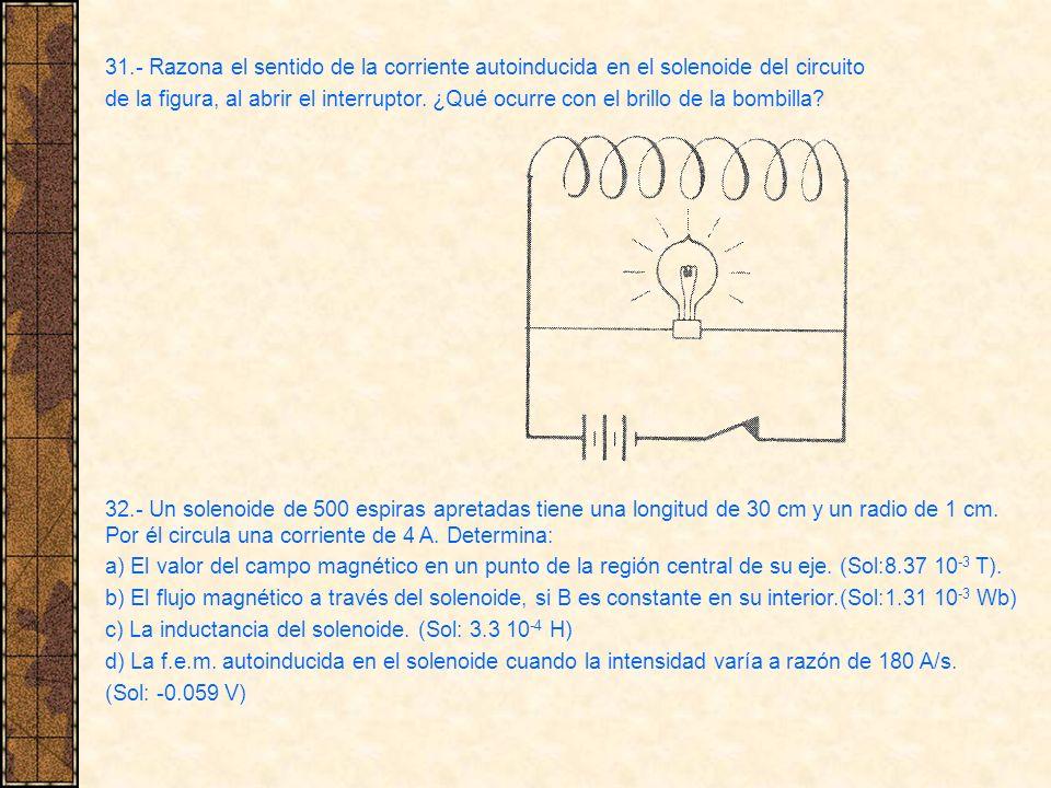 31.- Razona el sentido de la corriente autoinducida en el solenoide del circuito