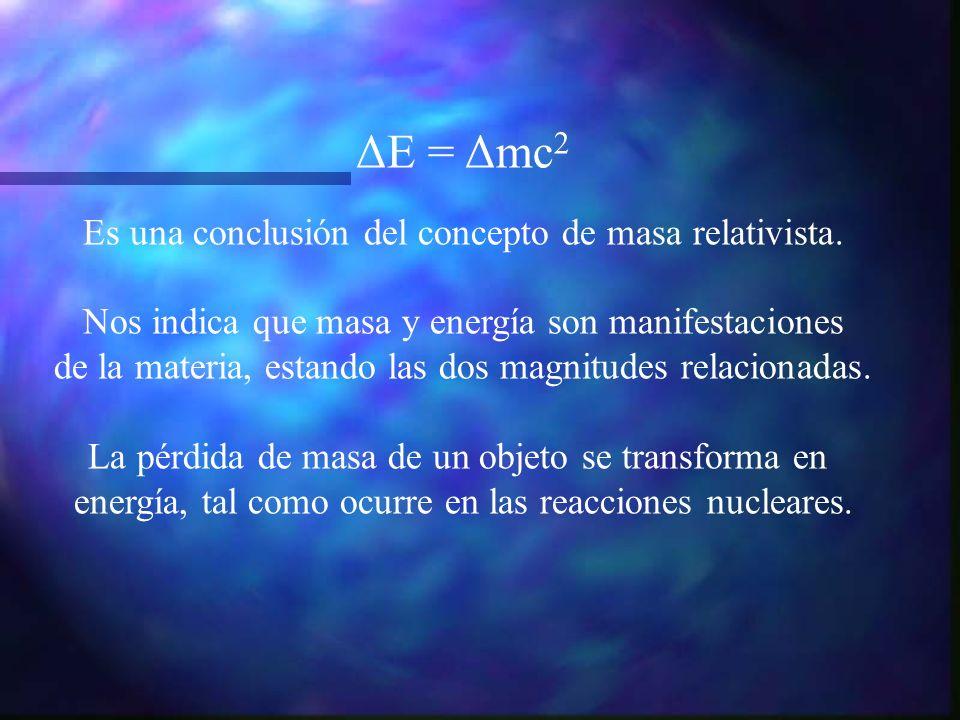 ΔE = Δmc2 Es una conclusión del concepto de masa relativista.