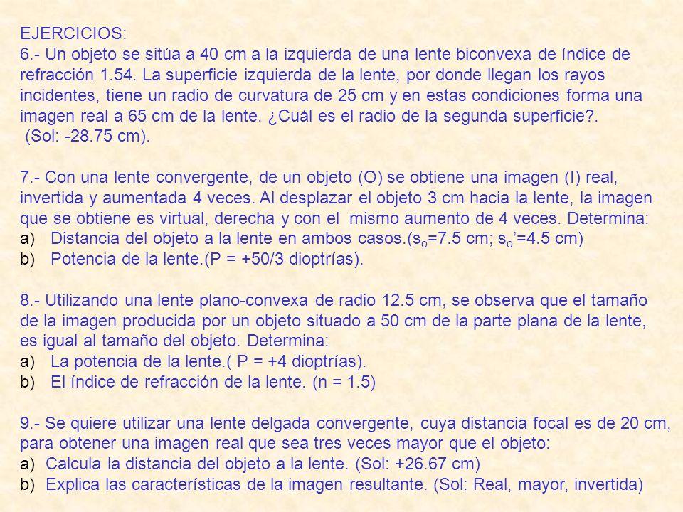 EJERCICIOS: 6.- Un objeto se sitúa a 40 cm a la izquierda de una lente biconvexa de índice de.