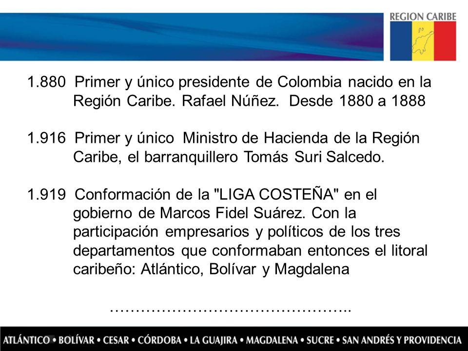 1.880 Primer y único presidente de Colombia nacido en la Región Caribe. Rafael Núñez. Desde 1880 a 1888