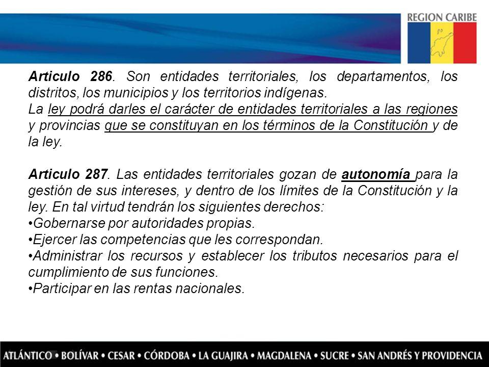 Articulo 286. Son entidades territoriales, los departamentos, los distritos, los municipios y los territorios indígenas.