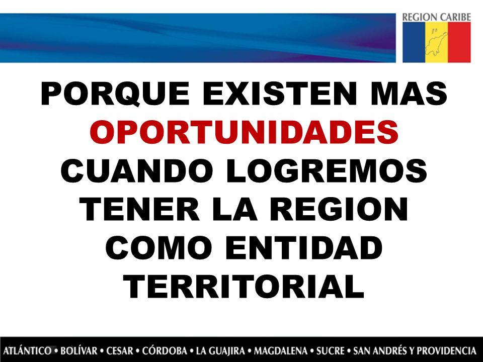 PORQUE EXISTEN MAS OPORTUNIDADES CUANDO LOGREMOS TENER LA REGION COMO ENTIDAD TERRITORIAL