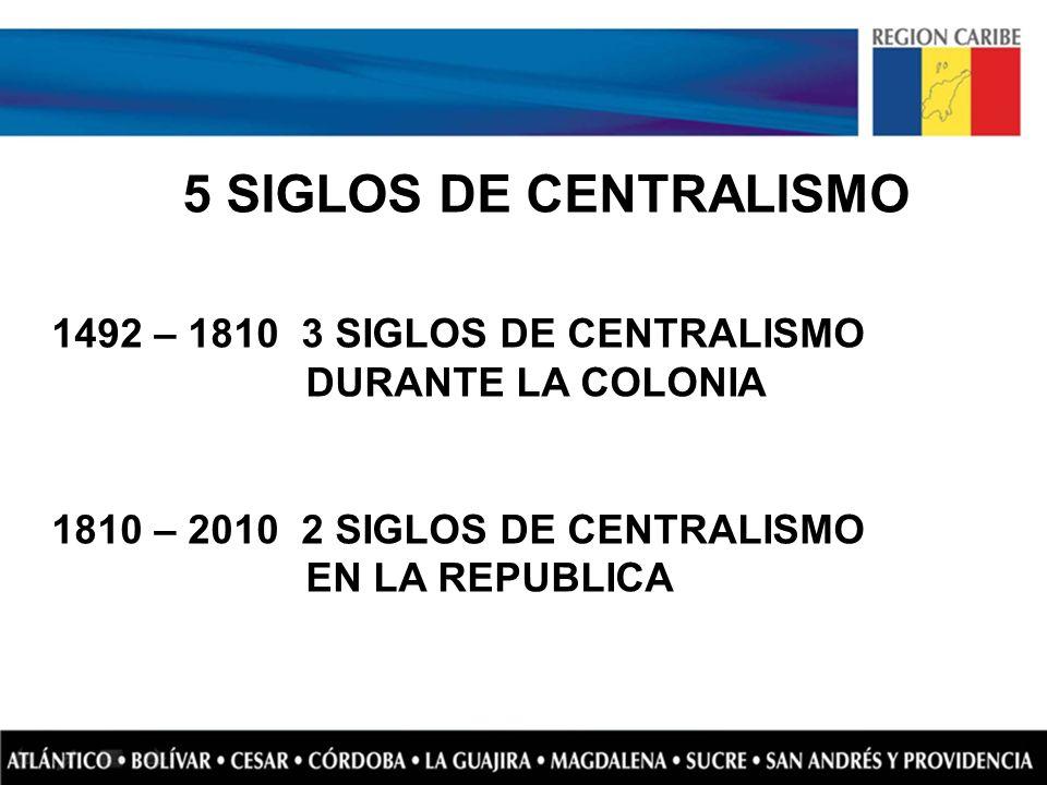 5 SIGLOS DE CENTRALISMO 1492 – 1810 3 SIGLOS DE CENTRALISMO DURANTE LA COLONIA.