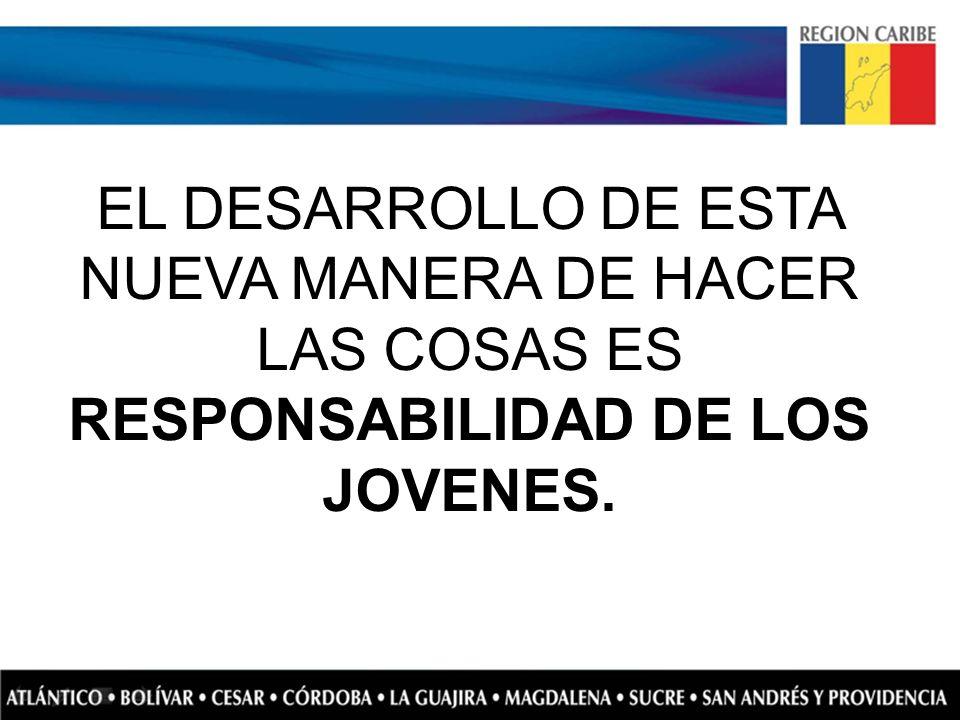 EL DESARROLLO DE ESTA NUEVA MANERA DE HACER LAS COSAS ES RESPONSABILIDAD DE LOS JOVENES.