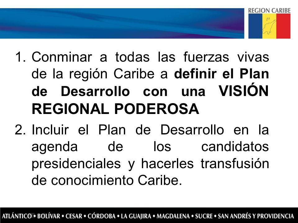 Conminar a todas las fuerzas vivas de la región Caribe a definir el Plan de Desarrollo con una VISIÓN REGIONAL PODEROSA